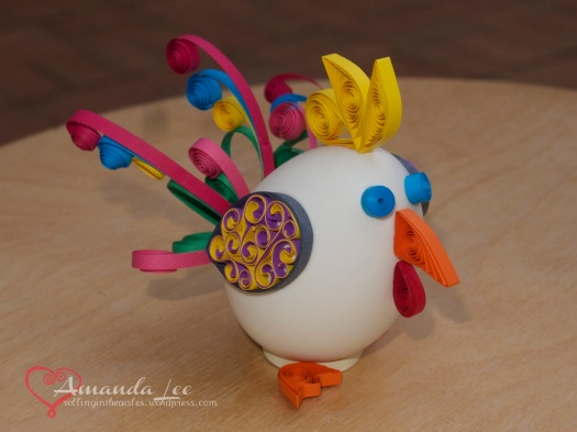 Nathan made a special request egg - he wanted a rainbow rooster!