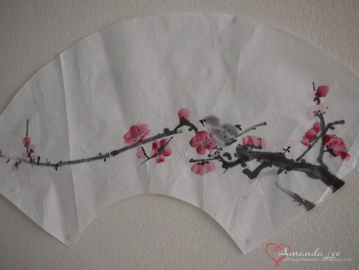 Blossom with bird for fan (it got crumpled in my son's arts and crafts box!)
