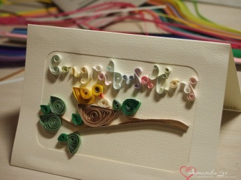 My first ever quilling attempt - notice how the glue didn't dry clear (grrr Klutz!!!)